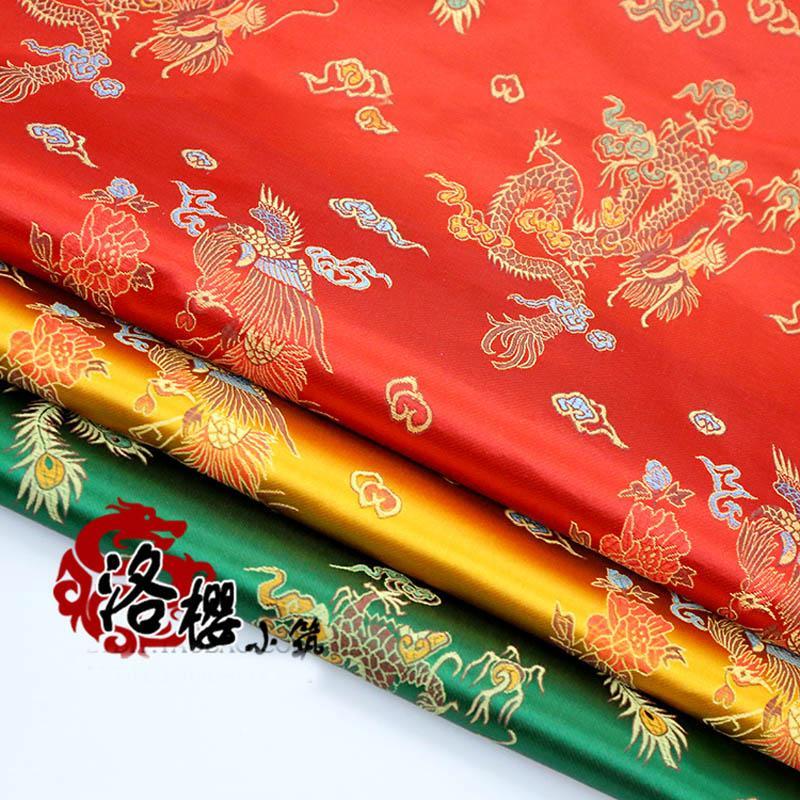 Red Brocade Jacquard Tela costume cinese Wedding COS abbigliamento cheongsam Tessuto damascato raso Dragon Phoenix