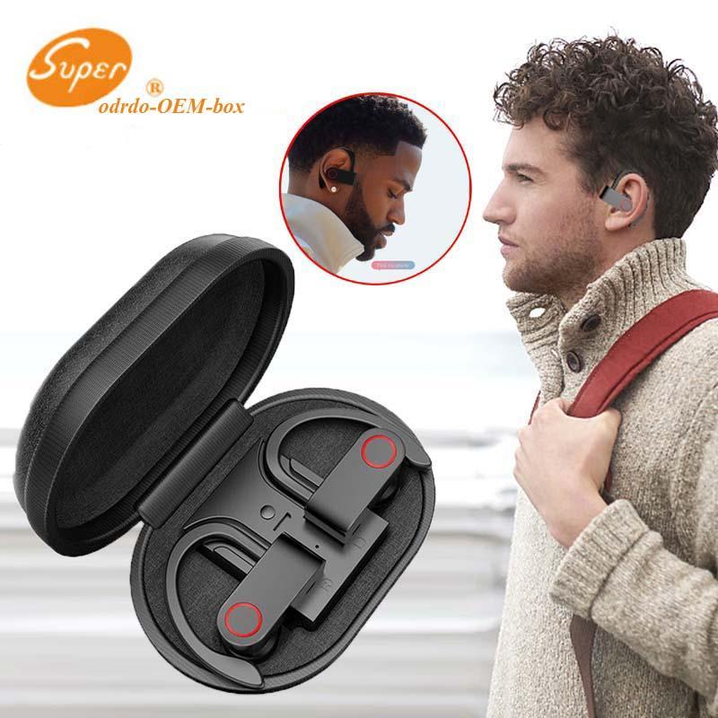 A9 Oído-gancho inalámbrica Bluetooth Headset Bluetooth 5.0 estéreo auriculares de sonido 3D Deporte auricular con micrófono dual de carga Caso