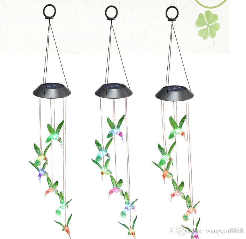 Humming LED pássaro Luz Solar Romântico windbell Luzes Wind Chime String Luz Lâmpada Cor Mudar para Pátio Quintal Decor