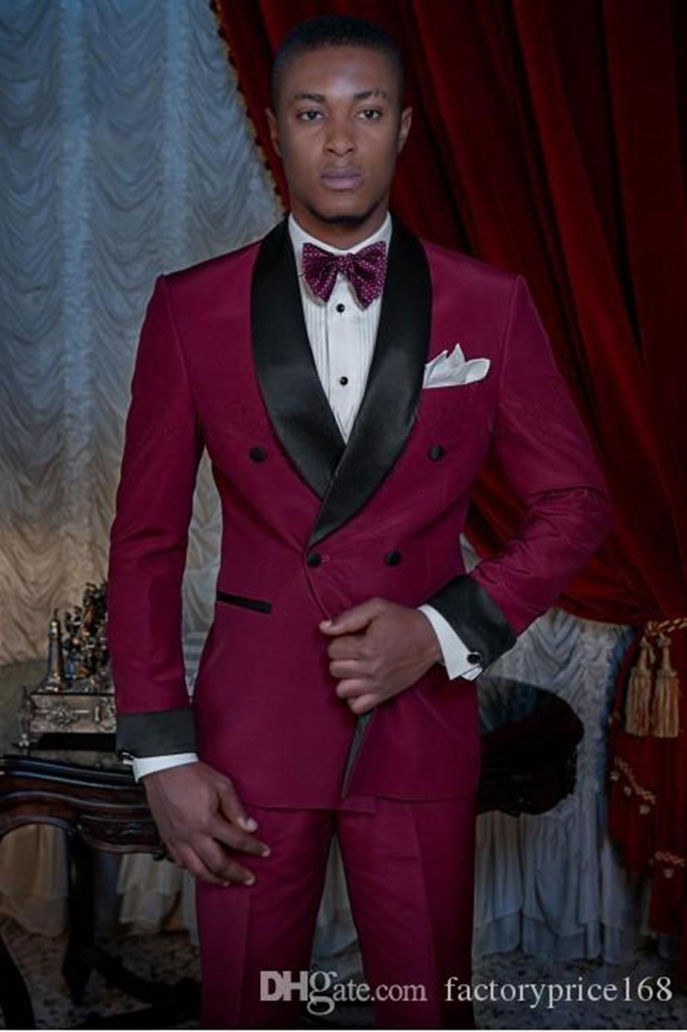 Popüler çift Breasted Groomsmen Şal Yaka (Ceket + Pantolon + Kravat) Damat smokin Groomsmen Best Man Suit Erkek Düğün Suit Damat A180