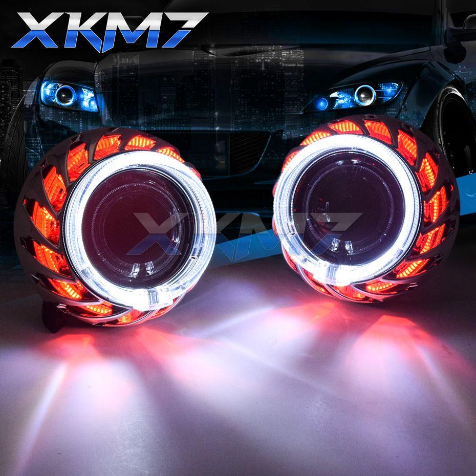 Doppio turbina Angel Eyes Bi-xeno Lens H4 H7 del faro Lenti H1 proiettori Xenon HID Kit LED Halo per le automobili Accessori Retrofit