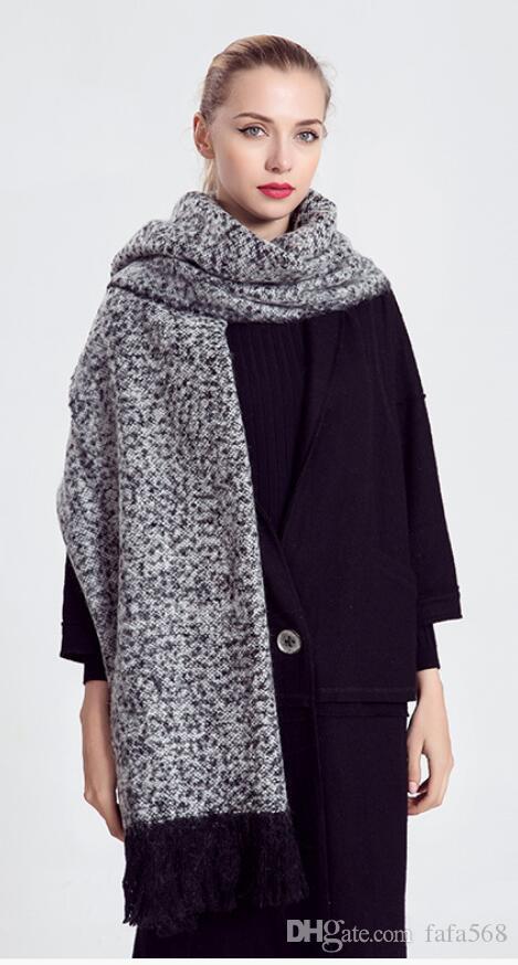 2020 O outono único original e inverno novas grandes mulheres grossas embelezado franjas cachecol xale grande