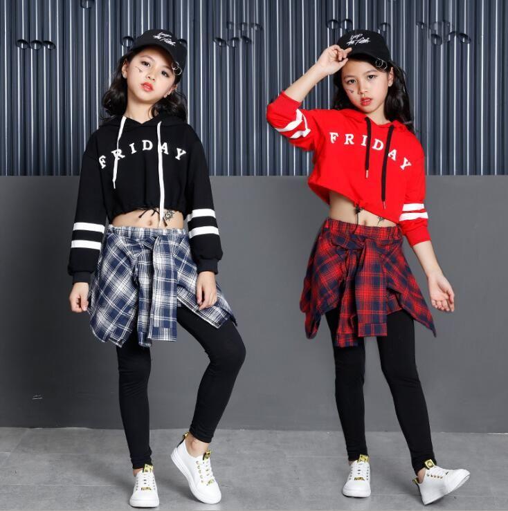 YENİ Kızlar Erkekler Gevşek Caz Hip Hop Dans Yarışması Kostüm Hoodie Gömlek pantolon-etek Gençler Çocuklar Breakdancing Performans Giyim Wear Tops