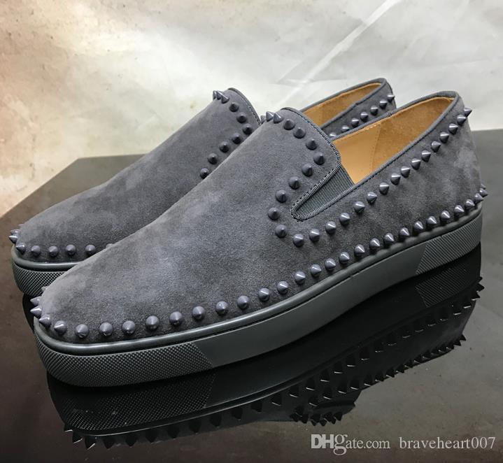 Orijinal Kutusu Kadın Erkek Ayakkabı Kırmızı Alt Sneaker Tasarımcı Parti Düğün ayakkabı Hakiki Deri Louisfalt Spike Dantel-up Rahat Ayakkabı Siyah C2