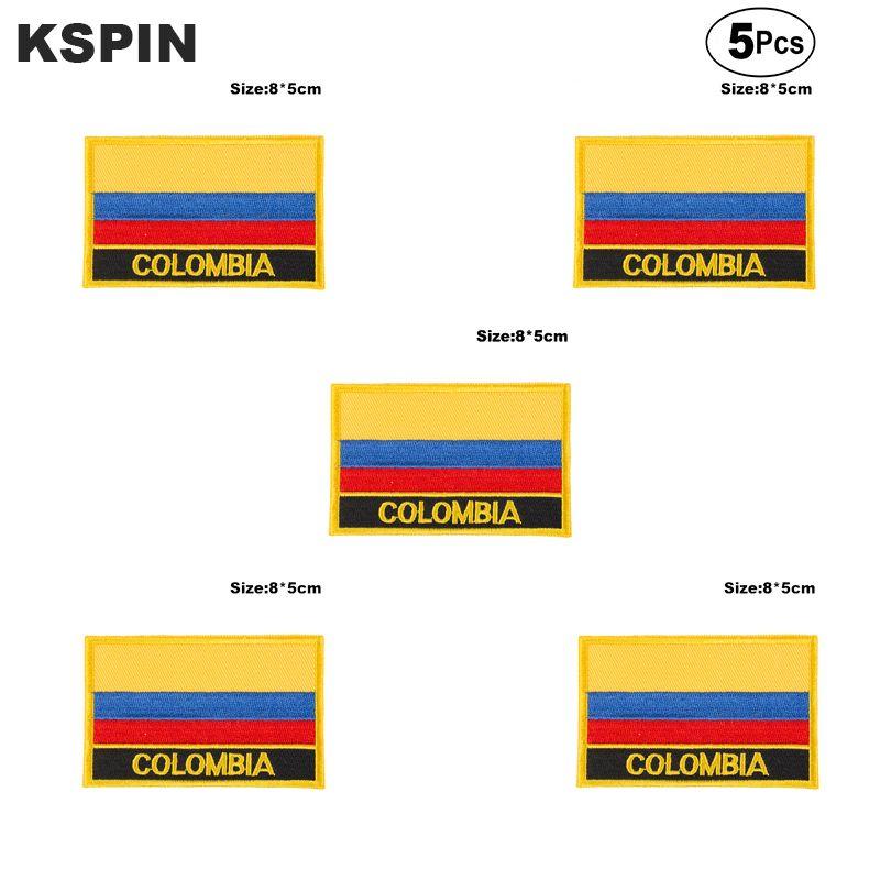 Kolumbien-Flaggen-Aufnäher Eisen auf Saw on Transfer Patches Anwendungen für Bekleidung in HomeGarden 5pcs Nähen
