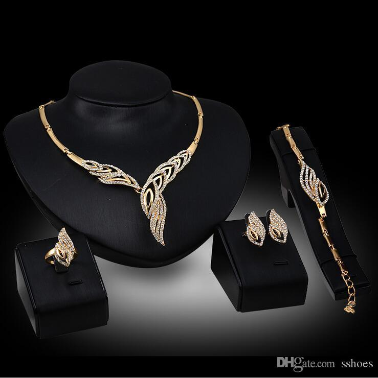Elegante casamento nupcial Jóias Prom banho de prata strass cristal Birdal Jewelry New Bling Colar Pulseira Anel Brinco Set
