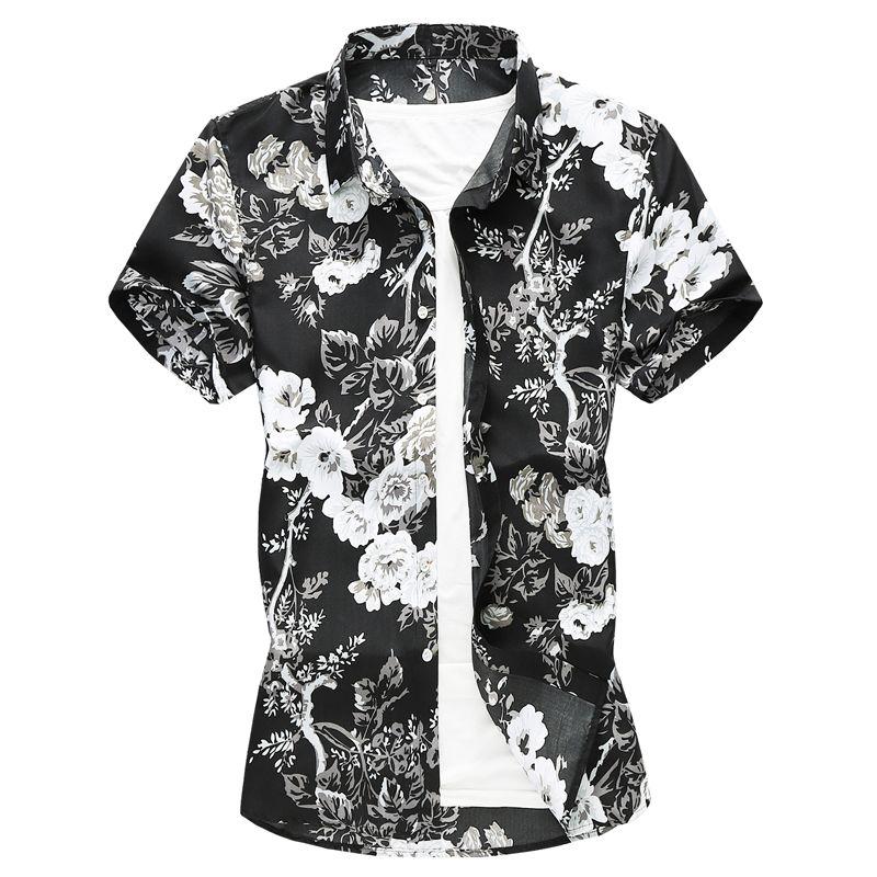 Plus Size 6XL 7XL 2019 Estate Uomo Camicie Slim Fit gira-giù floreale manica corta Fiori camice modello di vestito degli uomini