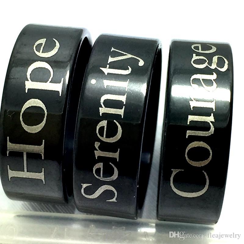 atacado 18pcs Serenidade da esperança da coragem inoxidável 316L anéis de aço jóias anel de dedo ajuste confortável