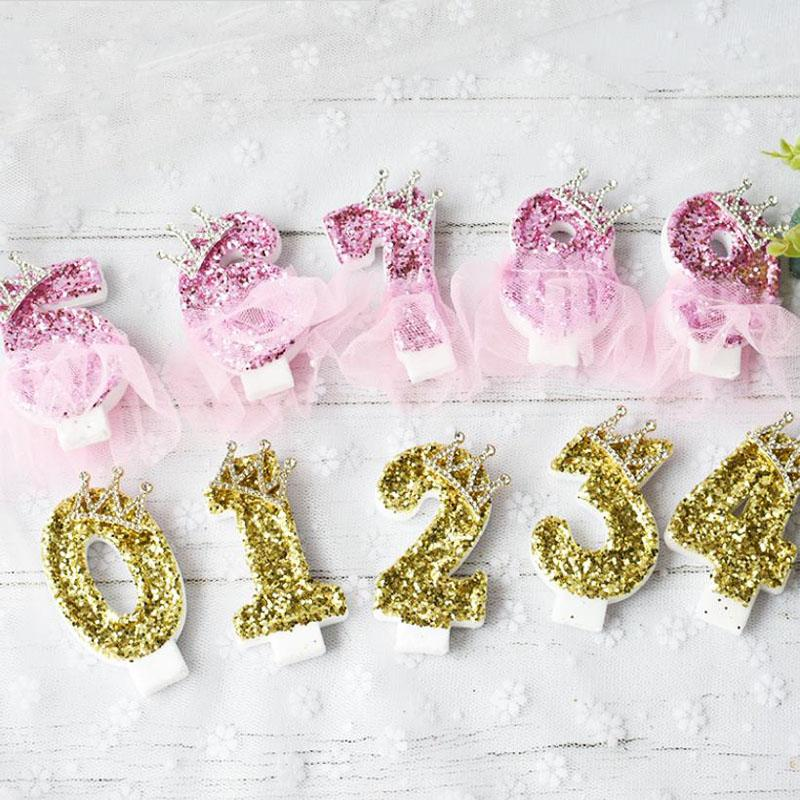 Gold 5 Number Candle Birthday Anniversary Party Cake Decorations Topper