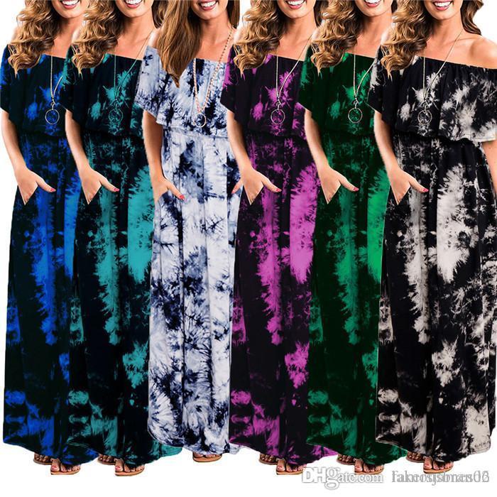 Femmes d'été Designer Maxi robes à manches courtes Slash cou étage longueur Femme Vêtements Fashion Style Vêtements décontractés