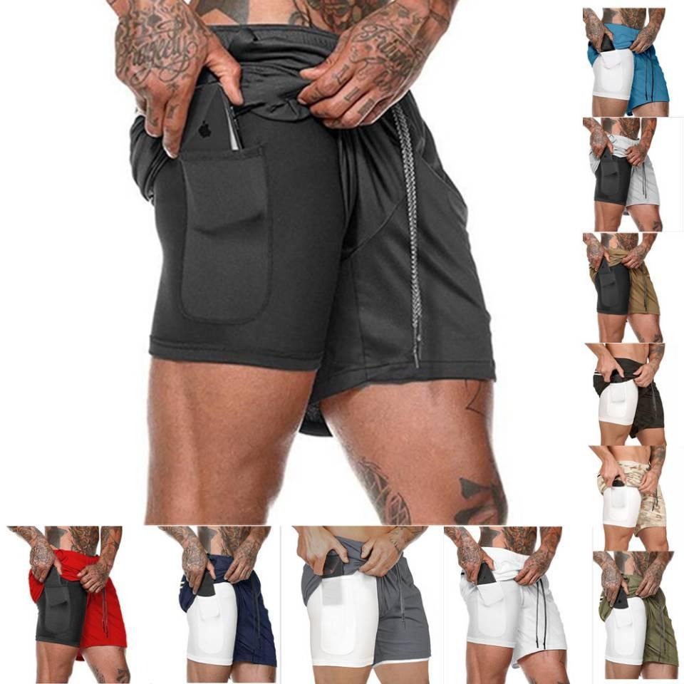 새로운 남성 스포츠 체육관 압축 전화 포켓 착용에서 기본 레이어 짧은 바지 운동 솔리드 스타킹 반바지 바지를 실행