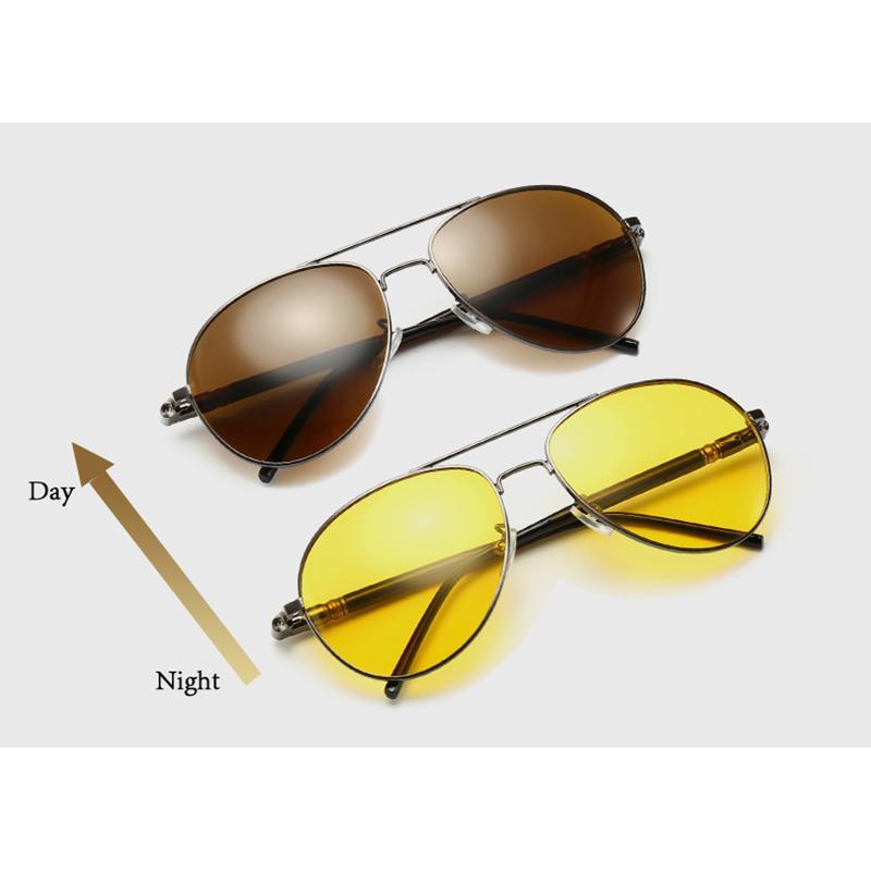 Nuove Metal Night Vision Occhiali per la guida Lens Giallo occhiali Giorno Notte Polarized Fotocromatica Brown Pilot goggle Eyewear L3