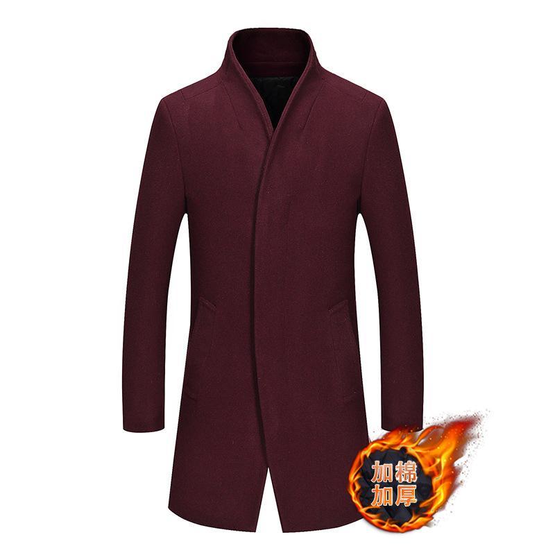 Coat Erkekler Casual Gençlik MEN'S Giyim Kaşmir Örtü Yün Kumaş Trench Duffle Kış artı Kalın Pamuk Yün