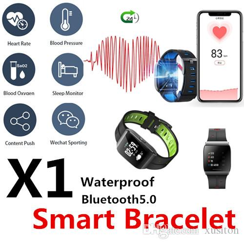 X1 Smart sport bracelet Watches Bluetooth IP68 Real-time heart rate monitoring shows heart rate alarm GPS sports track fitness data sharing