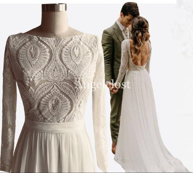 2019 Unique Design Lace Bohemian Wedding Dresses Long Sleeves Open Back A Line Chiffon Summer Boho Chic Rustic Real Images Bridal Gowns