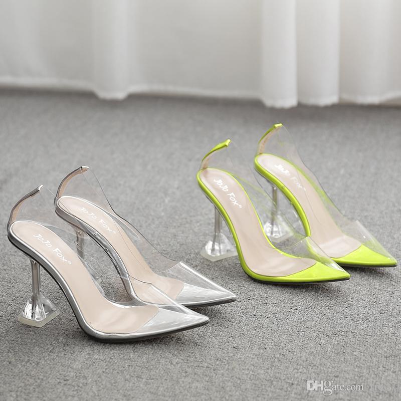 Hot Clear Tacchi Pantofole Sandali Delle Donne di Estate Scarpe donna Trasparente di alta Pompe Da Sposa gelatina Buty Damskie tacchi alti 9.5 cm