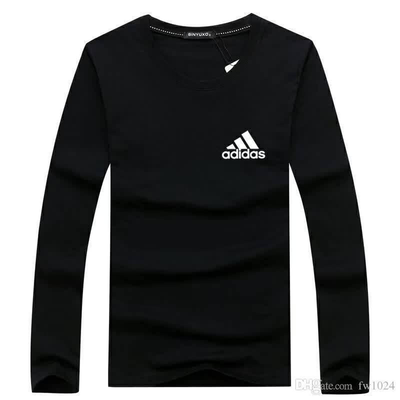 marca camiseta de los hombres 2018 moda impresa moda cuello redondo camisetas hombres manga larga camiseta camisetas