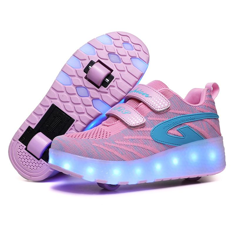 With USB Charging LED Children Roller Shoes Two Wheels Boy & Girls Roller Skates With Switch Breathable Kids Sneakers Size 27-43