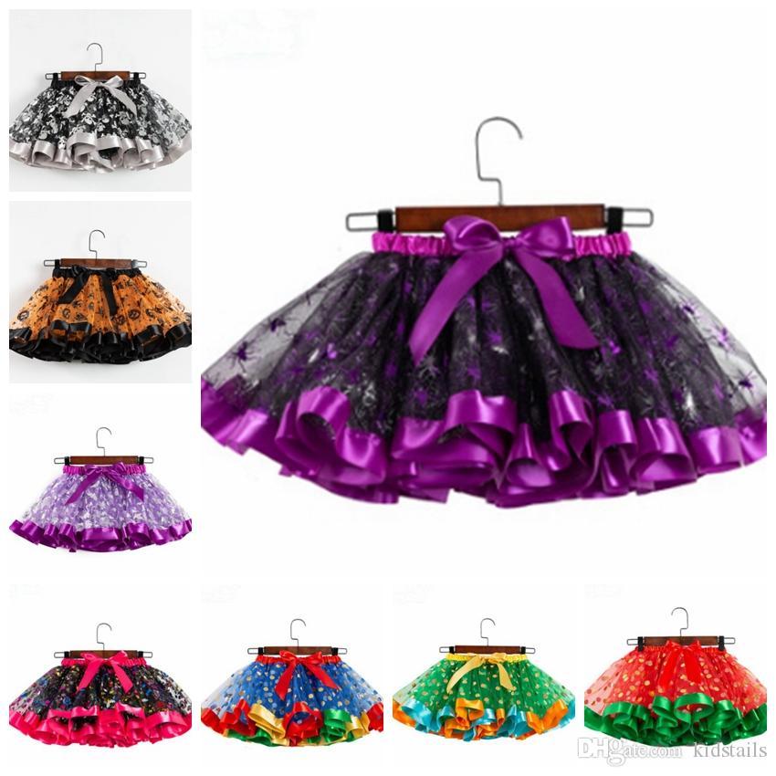 Tutu Skirts Halloween Kids Girl Bubble Skirt Dot Bow Girls Mini Dresses Halloween Children Costume Clothing 14 Designs DW4596