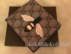 2020 NOUVEAU PORTEFEUILLE VERTICAL le plus de façon élégante de porter des cartes et des pièces célèbres hommes porte-cartes porte-monnaie en cuir serpent abeille NO BOX Q3