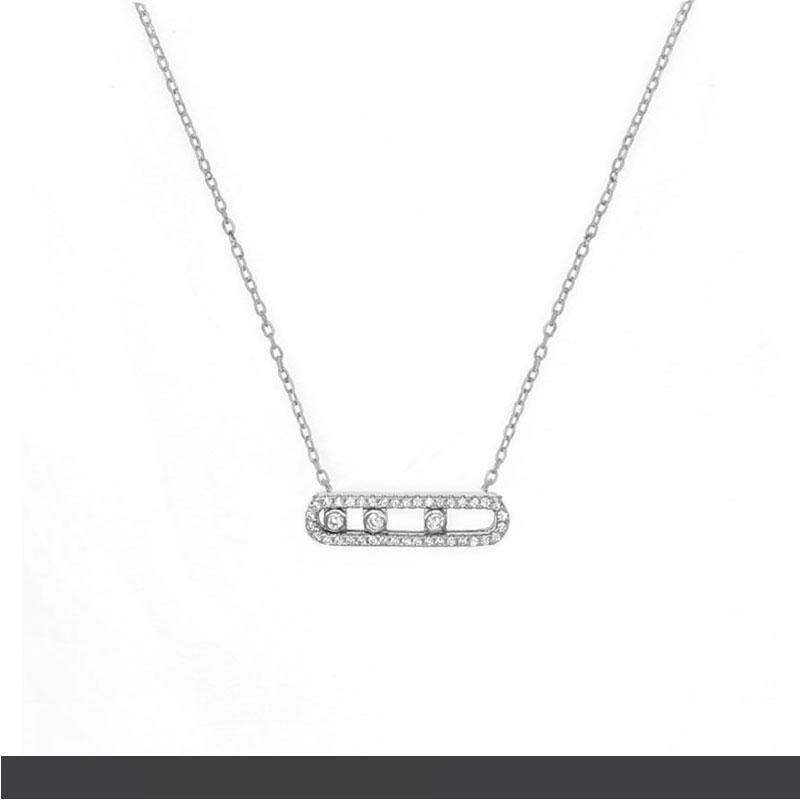 Francia Manera verdadera plata de ley 925 pulsera de la manera collar con tres trasladado piedra CZ clara para las mujeres joyería Collier