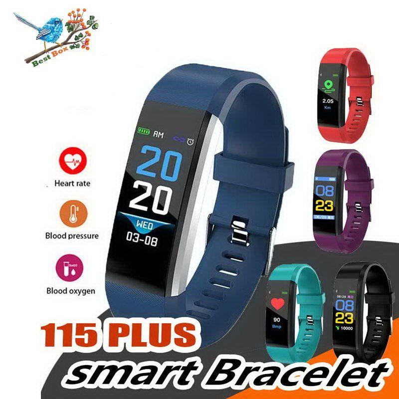 Pantalla LCD a color original ID115 Plus Pulsera inteligente Rastreador de ejercicios Podómetro Reloj Banda Monitor de presión arterial Frecuencia cardíaca Pulsera inteligente