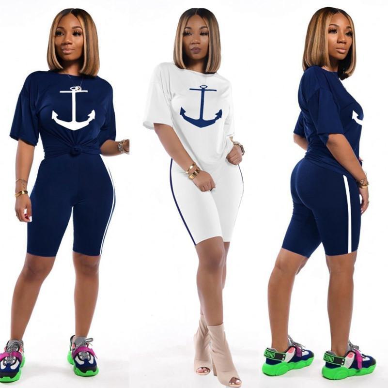 Tasarımcı eşofman kısa sleeve kıyafetler 2 parçalı set gömlek tozluk sıska gömlek pantolon spor takım elbise sıcak klw3461 clubwear spor giyim womens