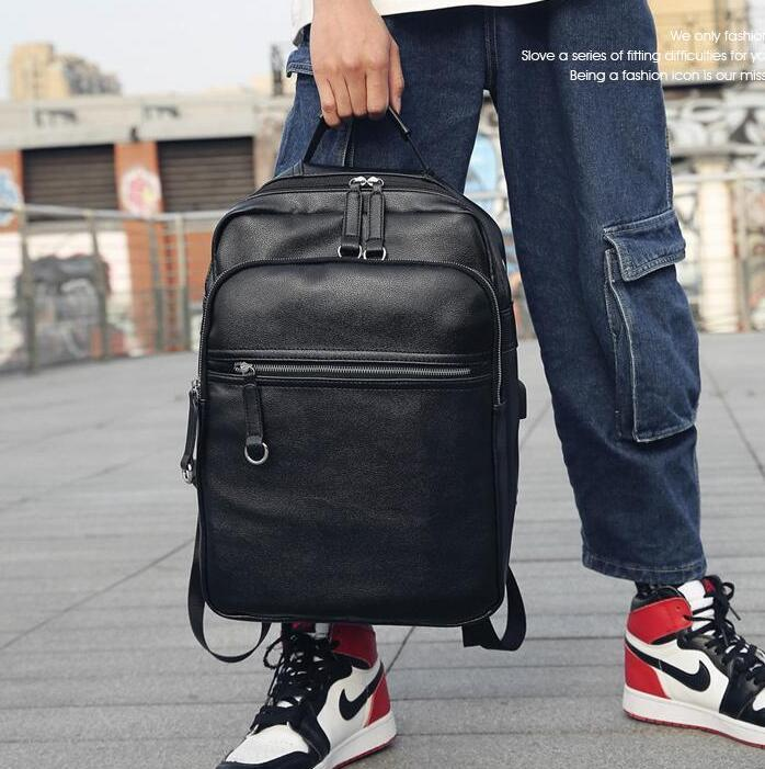 Factory wholesale men handbag simple and large-capacity upgrade version of leather backpacks street fashion student bags fashion lightweight