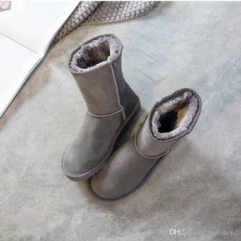 Kestane WGG kadın botları Klasik uzun boylu Bailey ilmek Black Coffee Mavi deri Kışın kar ayak bileği Yarım Diz avustralya botları EUR36-41 womens