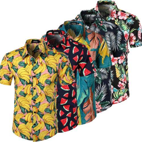 NOVA 2019 Homens Havaiano Verão Floral Impresso Praia de Manga Curta Acampamento Camisa Tops Camisas 5 Cores