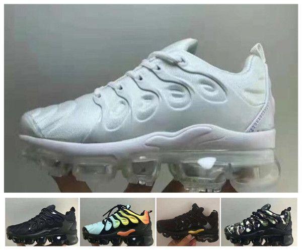 2019 Hot infantil Crianças Tn Running Shoes Air Cusion Cinza Branco Preto Crianças sapatos de desporto da criança instrutor do arco-íris do menino e menina Tns sapatilha