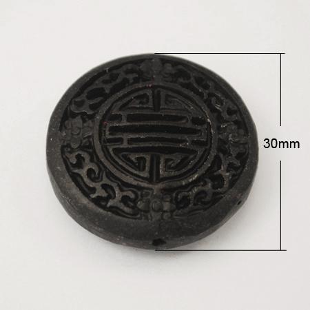 Perline Cinnabar 50pcs, intagliato laccato, Flat Round Oval, nero, Buco: 2mm