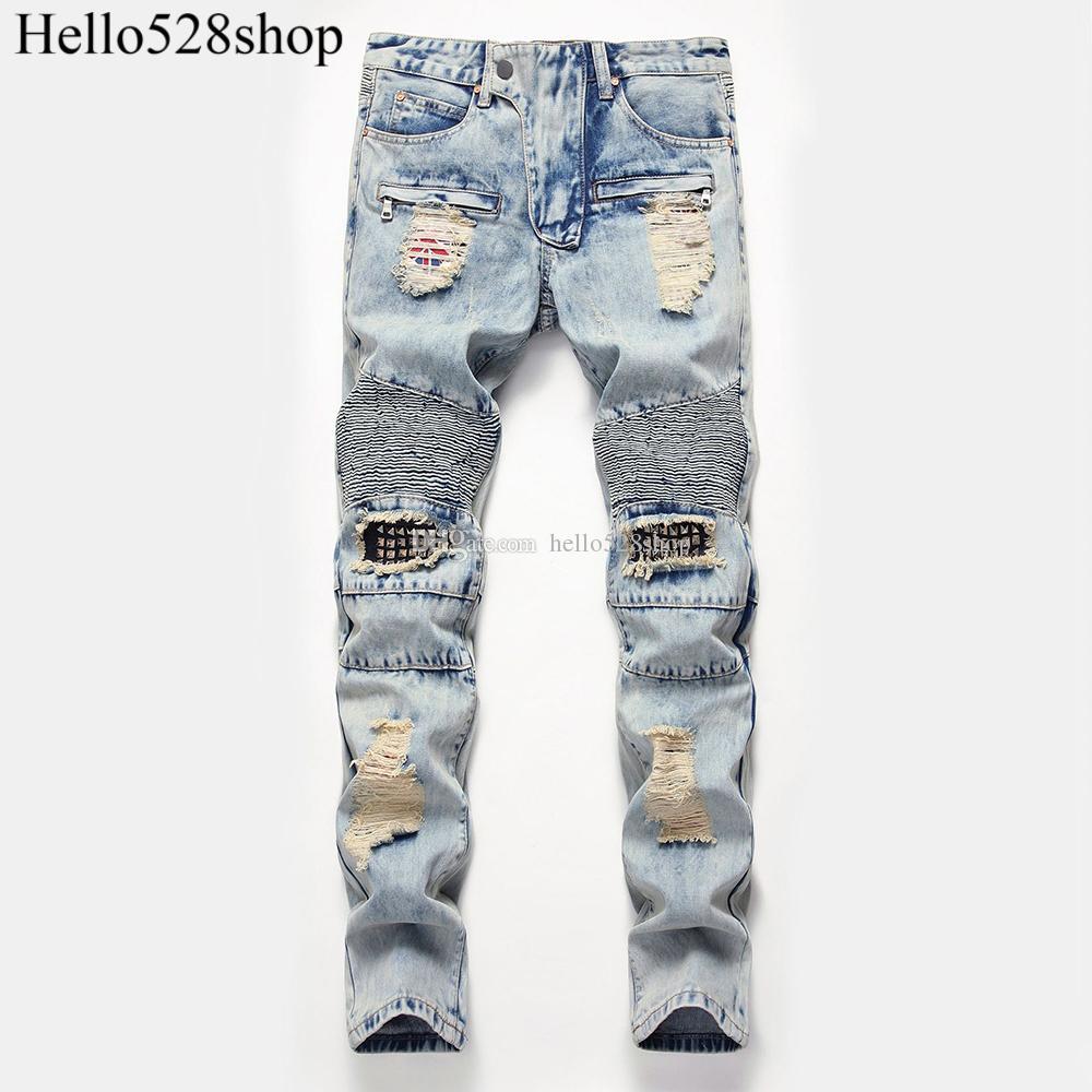 Hello528shop erkek Diz Delik Perçinler Küçük Düz Kot Pantolon Eğilim Yama Pantolon Mavi JEANS