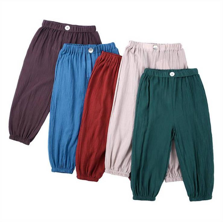 Çocuklar Pantolon Boys Yaz Sivrisinek Kanıtı Pantolon Katı Pamuk Keten Pantolon Günlük Düğmeler Bloomers Fenerler Klima Knickerbockers D6474