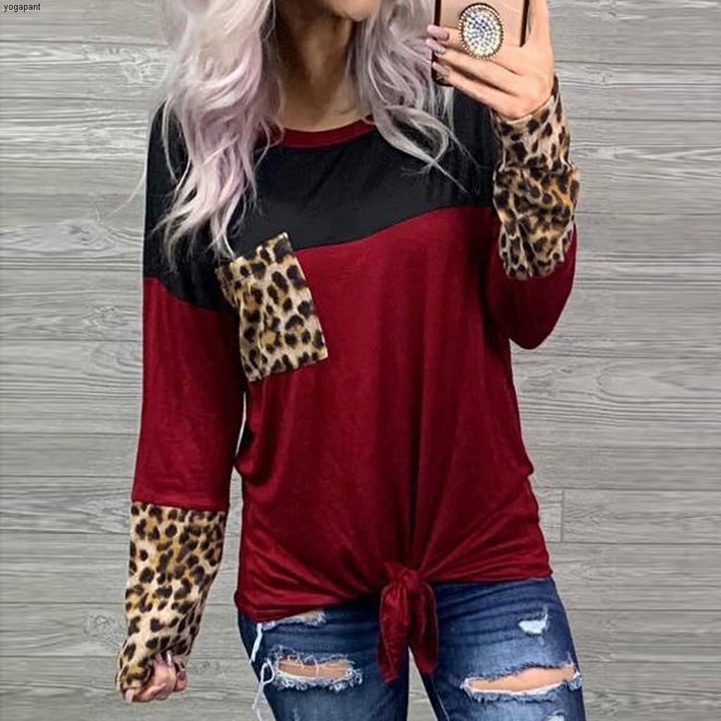 Leopard Printed Tops Women's Patchwork Long Sleeves Shirts Autumn Spring Round Neck Top Splicing Color Shirt Camiseta Mujer##5