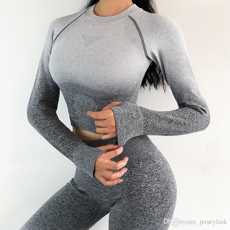 Neue Frauen Yoga Set Gym Kleidung Nahtlose Leggings Cropped Shirts Sport Anzug Ombre Frauen Langarm Fitness Set Active Wear # 757009