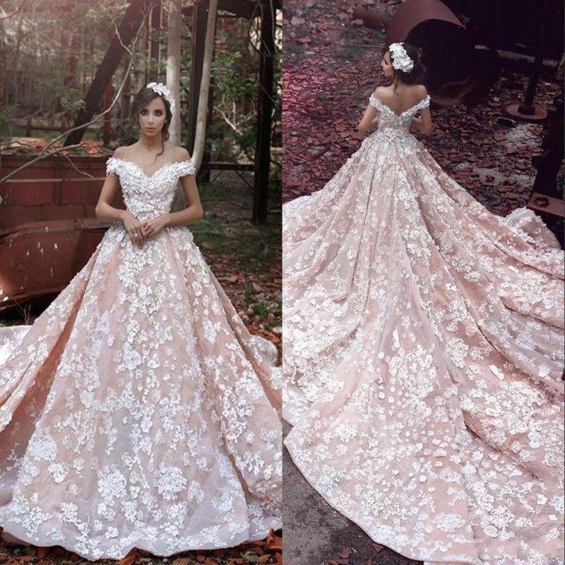 Blush Pink Spring Dreaming Goddess A Line Vestidos de novia 3D Apliques Sheer Back Vestidos de novia de lujo con hombros descubiertos BA3863