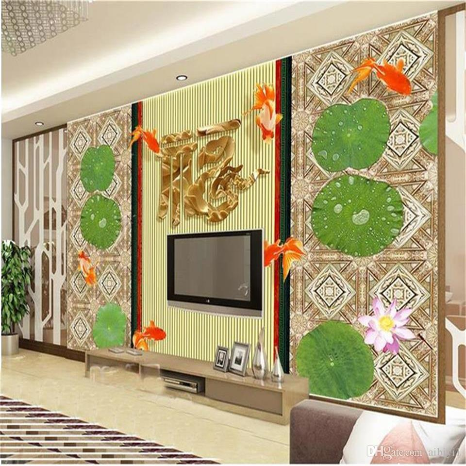 custom size 3d photo wallpaper living room mural embossed lotus Chinese painting picture sofa TV backdrop wallpaper non-woven wall sticker