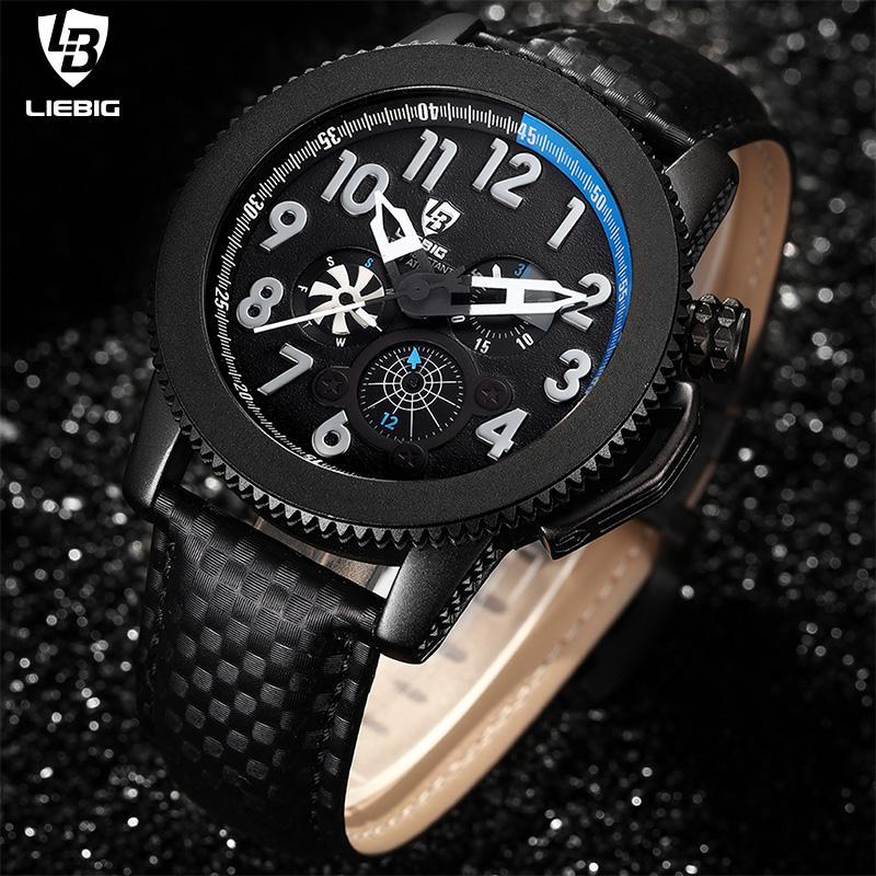 LIEBIG reloj de cuarzo Hombres Calendario semana 24 horas de los relojes de los hombres de la correa de cuero resistente al agua reloj reloj hombre F301