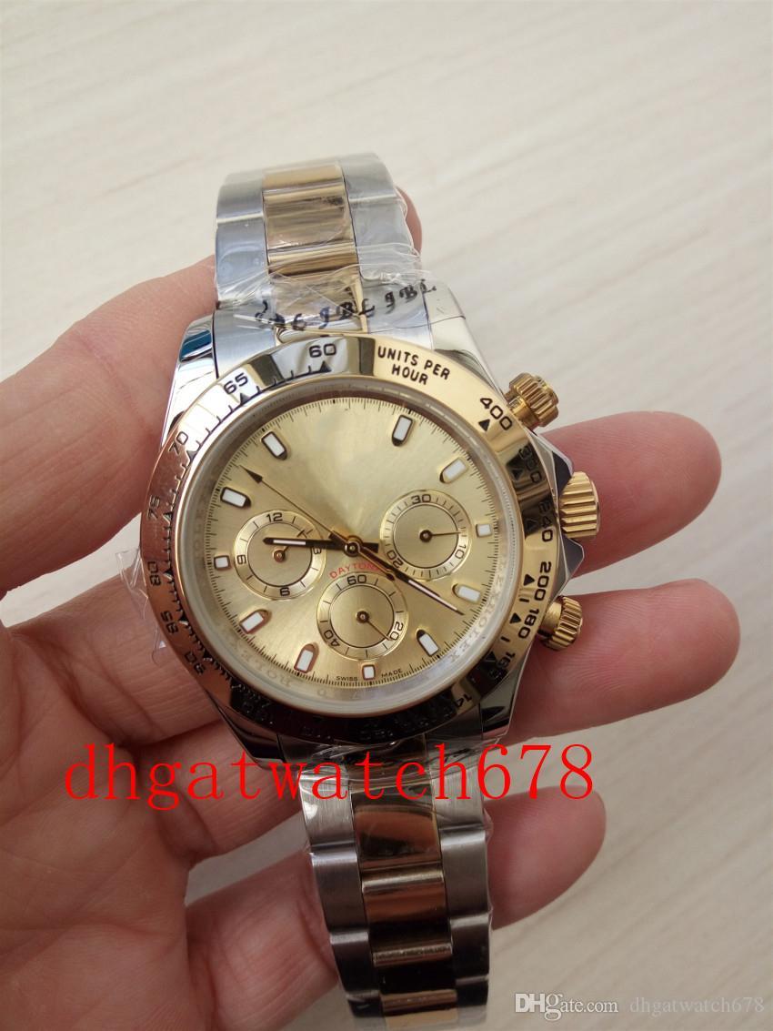sportiva di lusso di alta qualità di lusso del Mens uomini della vigilanza orologio 40 mm con fibbia pieghevole senza cronografo Two-Tone 116503 movimento in acciaio inox B
