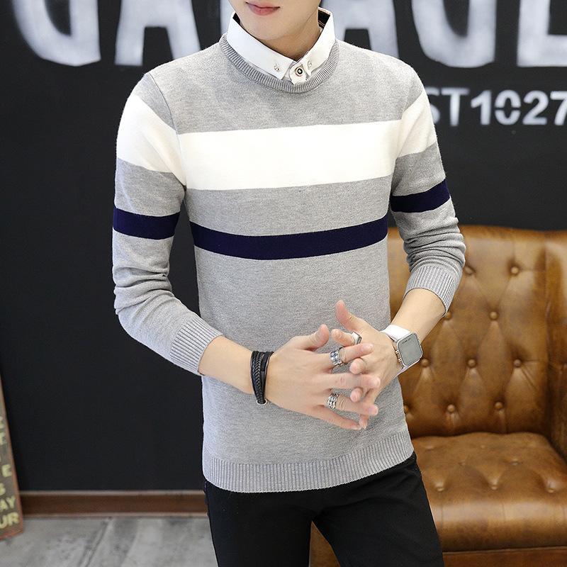 Erkekler Gömlek Yaka Giyim 2019 Klasik Basitlik Kazak Kazak Erkekler Patchwork Uzun Kollu Siyah Gençler Kazak Ücretsiz Gemi