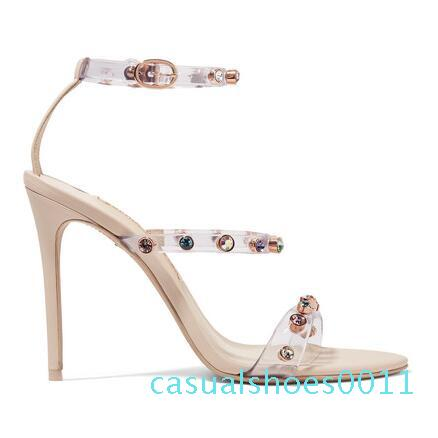 Rosalind crystal-embellished PVC and suede sandals sky-high heels women fashion party sexy dress high heel shoes c11