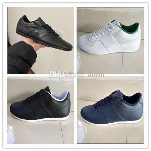 Neues Krokodil Marke Mens Leder Freizeitschuhe Mode Turnschuhe Luxus Designer-Turnschuhe Lacos Großhandel Causal lLACOSTEs Schuhe original