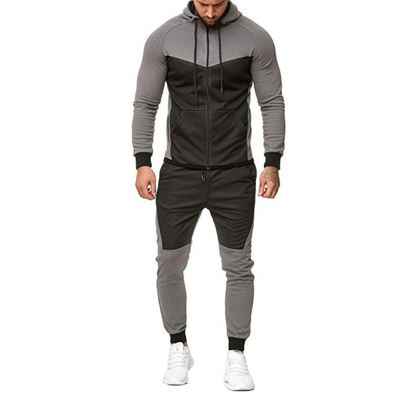 2 PCS هوديس مجموعة يناسب عداء ببطء الرجال الخريف رياضية المرقعة زيبر طباعة أعلى + الرباط بانت مجموعات البدلة الرياضية Bluza # guahao