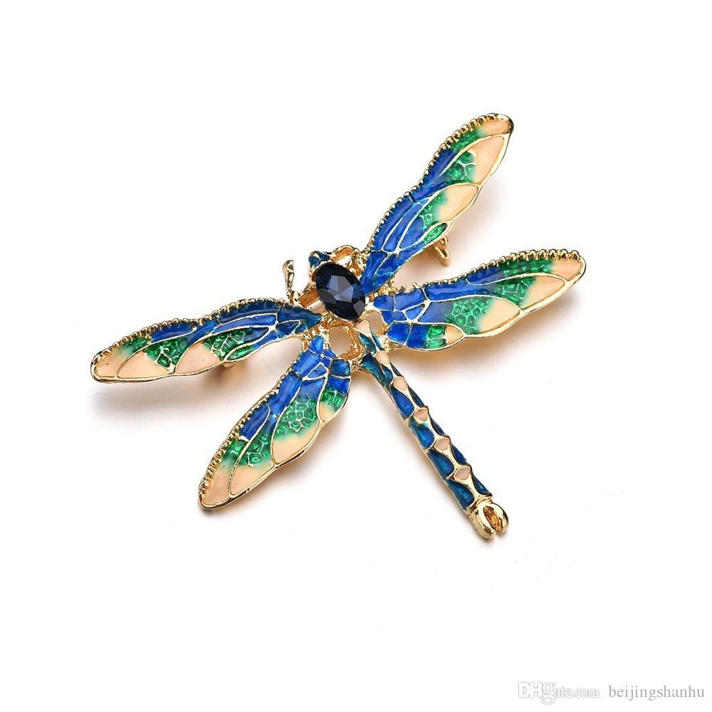 Verde púrpura esmalte libélula insectos broches para mujeres y hombres de aleación de metal banquete bodas broches alfileres regalos b410