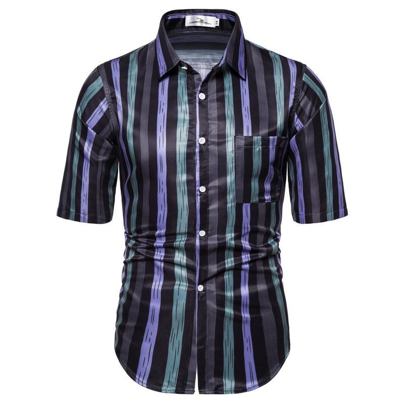 Camicetta Uomini semplice Stripe Stampa manica corta Top Fashion Casual Party Dress shirt uomo nuovo arrivo di estate Blu Rosso