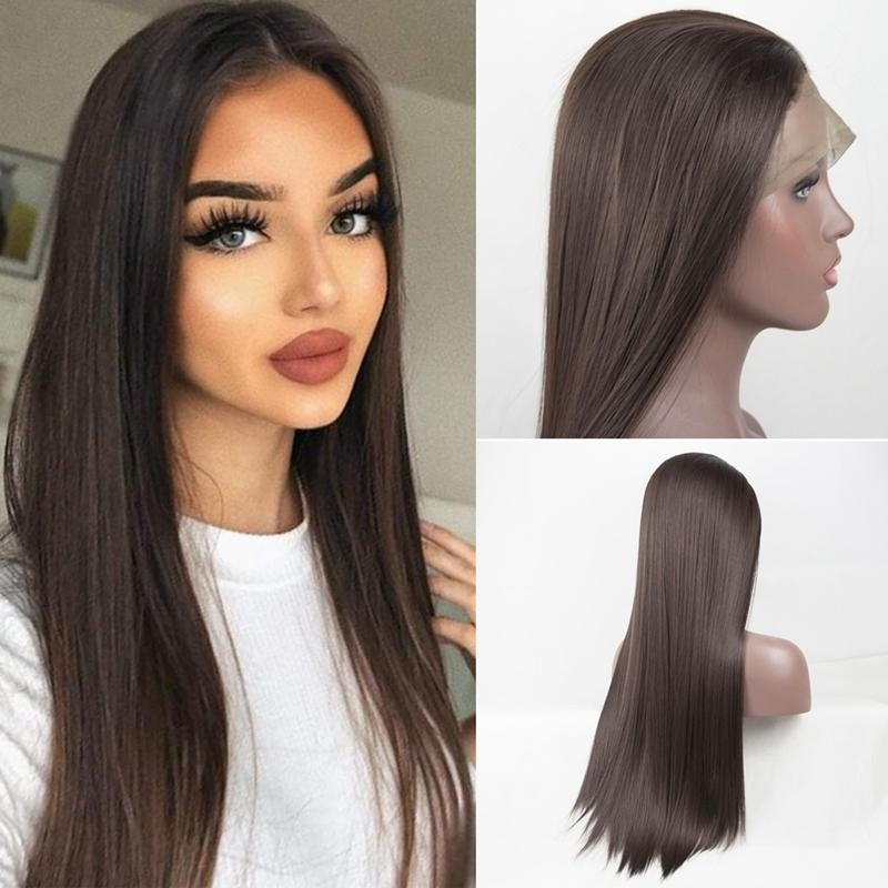 Dark Brown Synthetic Lace Front Wig Long Silky Straight Fiber Hair With Natural Hairline Heat Resistant Lace Front Wig for Women