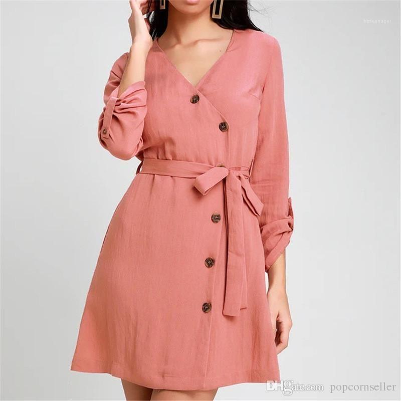 Diseñadores de camisetas falda elegante francesa de talle alto de encaje con cuello en V Hasta la gasa de las señoras de las mujeres confortable blusas ropa de moda para mujer