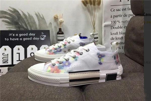 Eğik Erkek Marka B23 Tasarımcı Ayakkabı Bayan Moda Sneakers S01 Toptan 19SS Çiçekler Teknik Tuval B23 B24 Yüksek Top Sneakers
