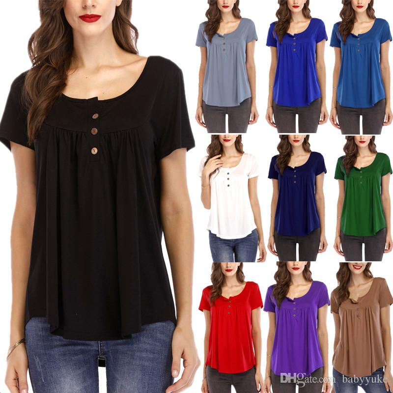 Summer clothes Tees T-Shirt Women's Best selling pleated button loose short-sleeved T-shirt top Large size S-5XL 219